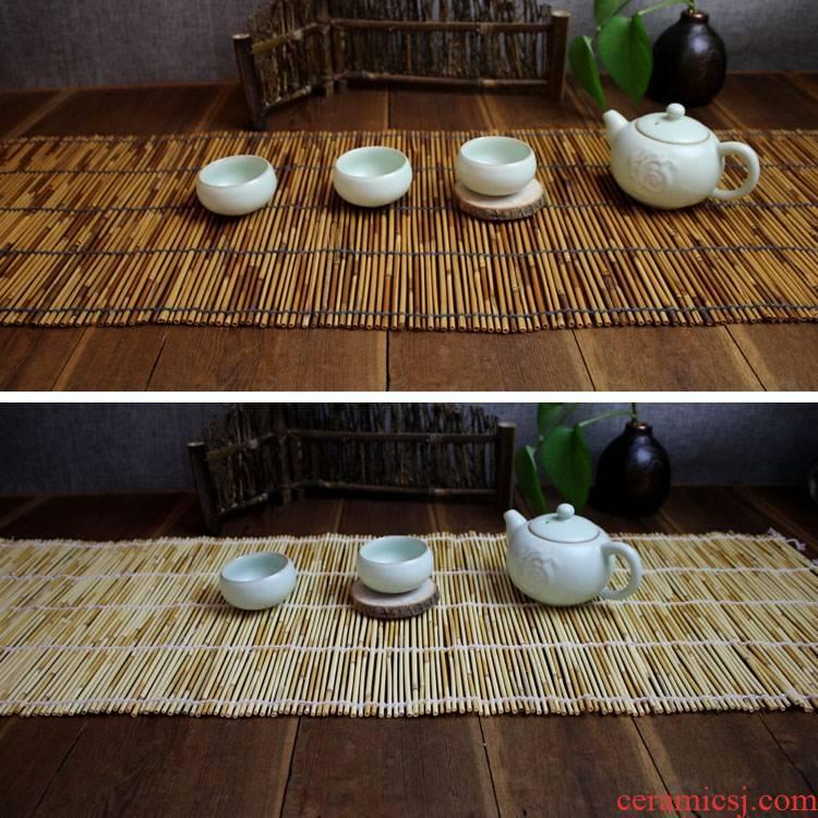 Reed mat bamboo pole tea tea shade ferns pole cup mat insulating mat mat rattan grass tea tea tray mat waterproof tea table cloth