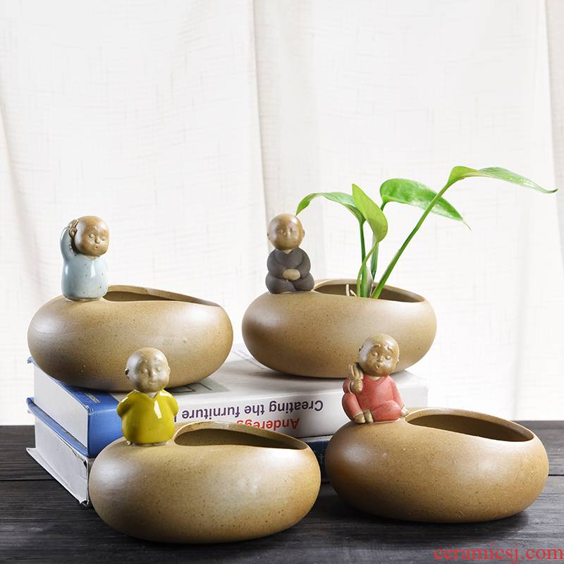 Creative other hydroponic flower pot ceramic basin of aquatic plant coarse pottery restoring ancient ways, the young monk sitting room fleshy potted the desktop