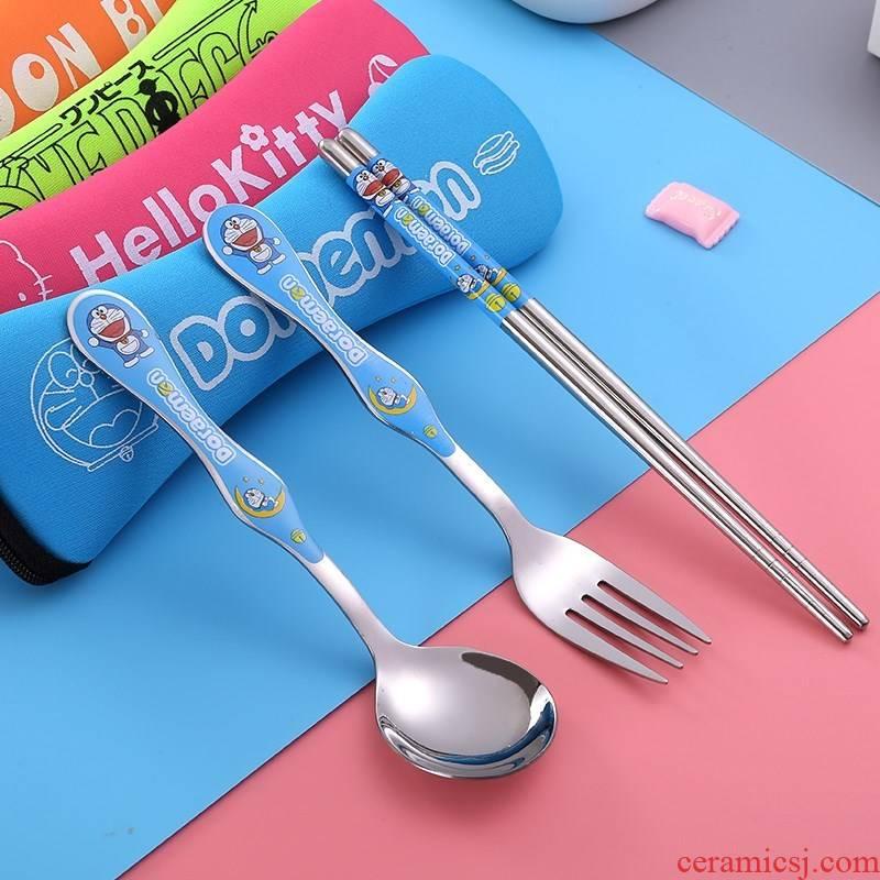 Set three south Korean children portable tableware chopsticks spoons babies receive bag pupil stainless steel, stainless steel