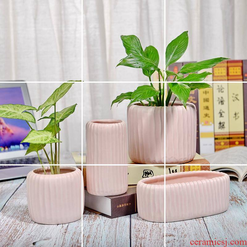 Ceramic package mail 】 【 matt frosted pink stripe high meat round oval pot hydroponic the plants flower receptacle