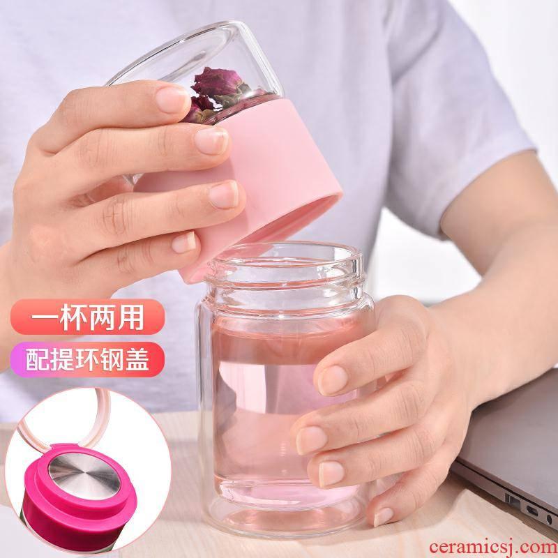 Separation of tea tea cup web celebrity fairy cup express portable small glass filter tea custom logo