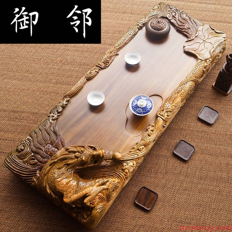 Green, sandal wood tea tray, the whole piece of solid wood home tea trumpet tea sea dragon carved its tea tray