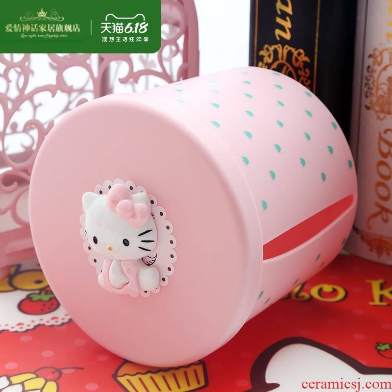 Receive a case of circular box, lovely smoke wash a face towel box paper napkin box tea table desktop paper boxes