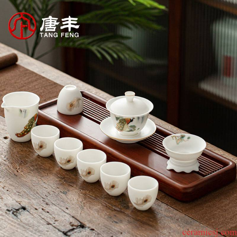Tang Feng suet jade suit see peacock tea ware home sitting room lid bowl sample tea cup gift boxes