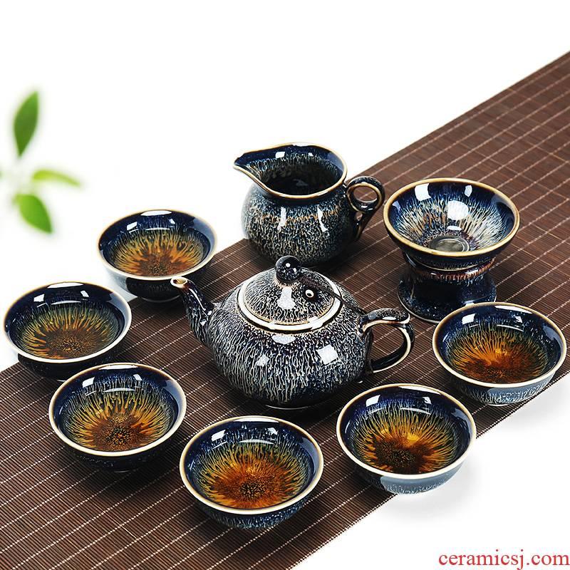 Jingdezhen kung fu tea set suit household ceramics building red glaze, a complete set of contracted lid bowl of tea cups