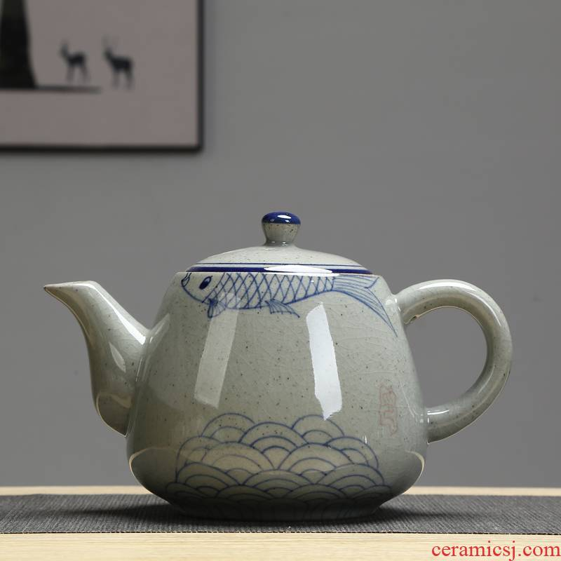 Big teapot retro hand - made ceramic handle type high temperature resistant of blue and white porcelain pot teapot 900 ml of the hotel restaurant