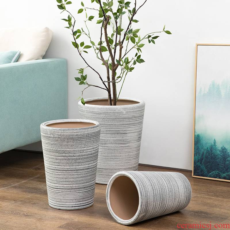 Ceramic sand flowerpot oversized northern wind mill large ground indoor and is suing green plant rich tree flower pot contracted a clearance