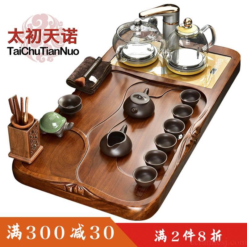 The beginning day, automatic tea set home four unity glass kettle hua limu purple sand tea tray was kung fu