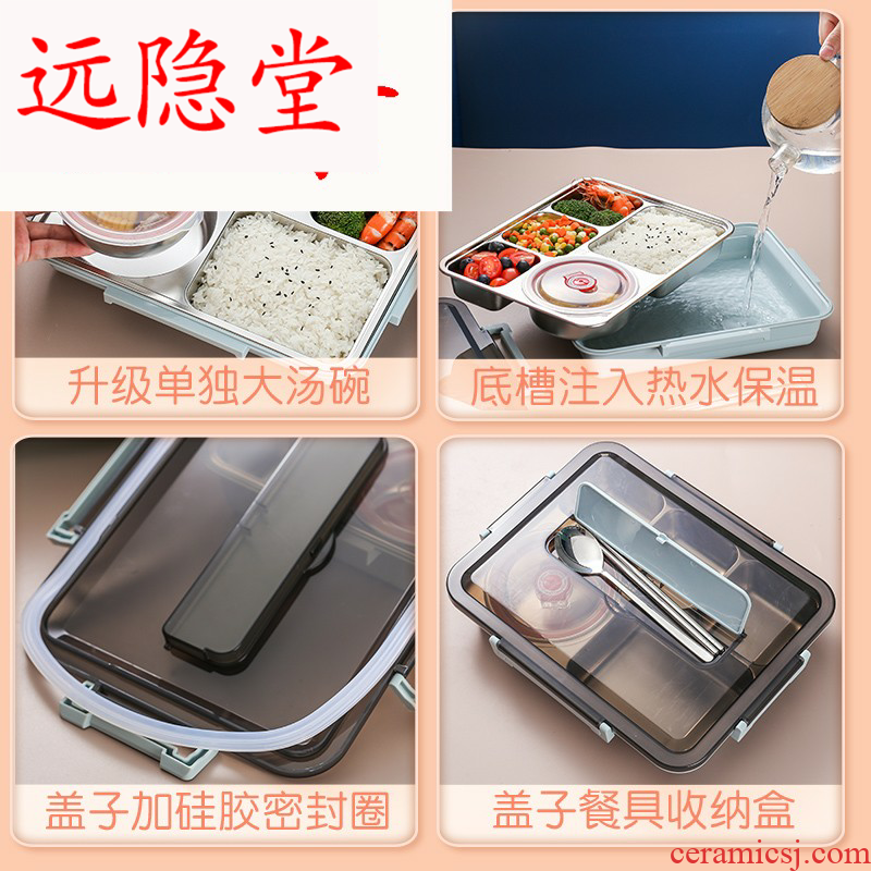 304 steel insulation lunch box office space type pupil portable boxes with tableware lunchbox sets