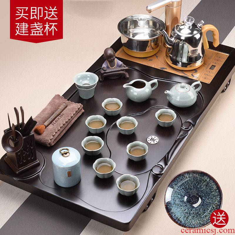 Four unity JiaXin ebony wood, automatic boiling water tea tray was violet arenaceous household kung fu tea set