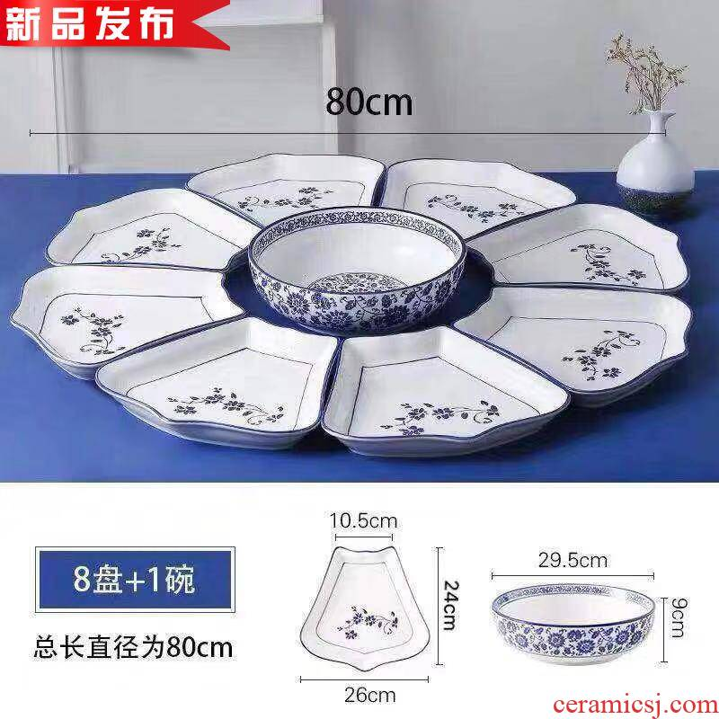 Ceramic e spell big pot seafood platter round round table large - cap portfolio round rotating plate with blue and white porcelain of rice