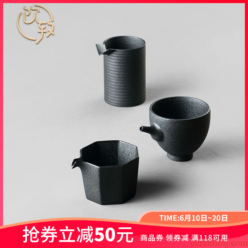 Ultimately responds to fair keller of black large Japanese zen wind and large capacity of tea rough sea jingdezhen ceramic points of tea, tea sets