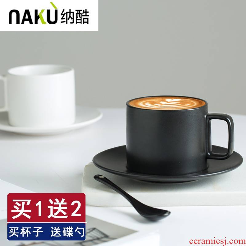 Cool creative retro black ceramic keller cup a cup coffee cup sets with disc European - style teaspoons