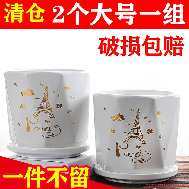 Nordic ceramic flower POTS with tray was special large indoor household bracketplant other wholesale creative move, fleshy