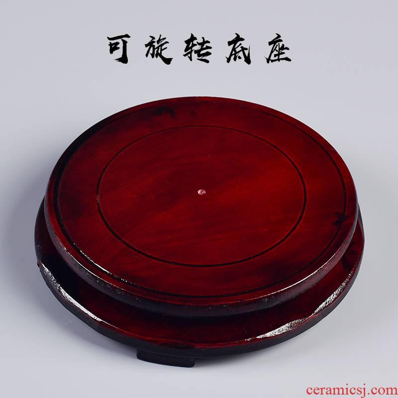 Retro flower pot base circular wooden tray rotating desktop furnishing articles pot basin hydroponic plant pot holder