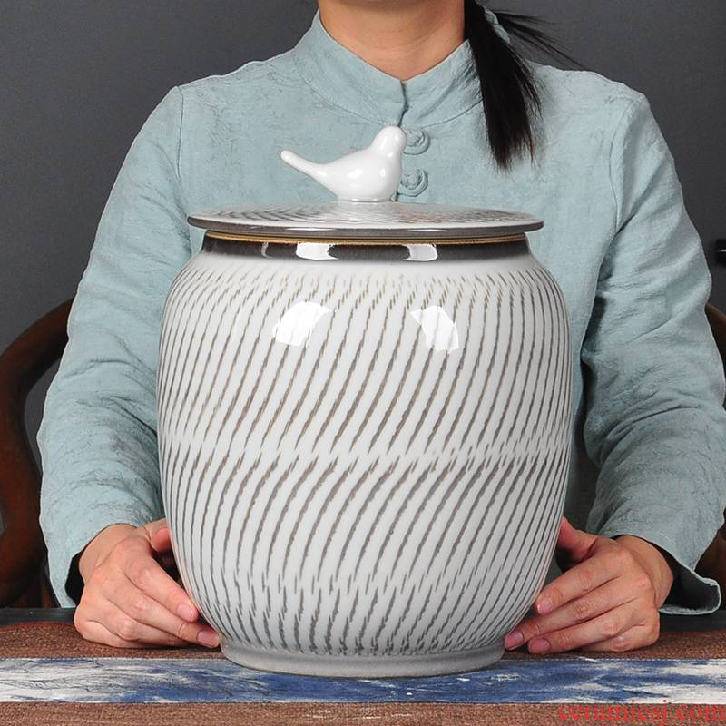 Large tea jar airtight jar of jingdezhen tea service furnishing articles ceramics handicraft sitting room adornment white tea POTS