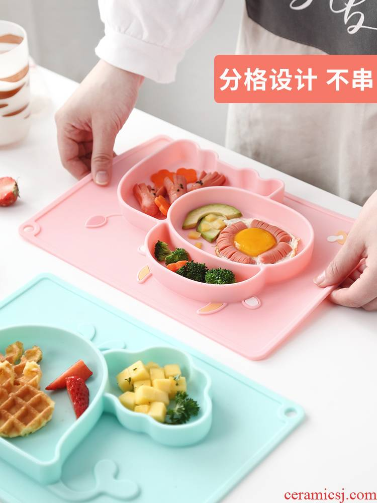 Senseyo baby plate frame plate cartoon silicone hockey assist food bowl suction cup bowl and lovely children tableware