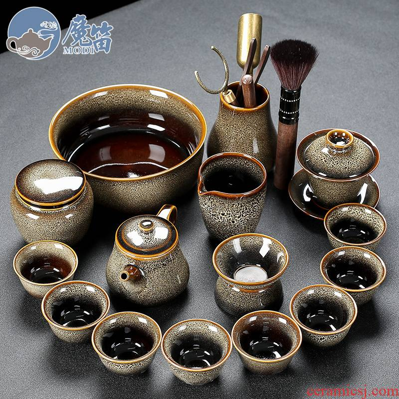 Flute TuHao built one variable household kung fu tea cup set jinzhan lid to use office with tea