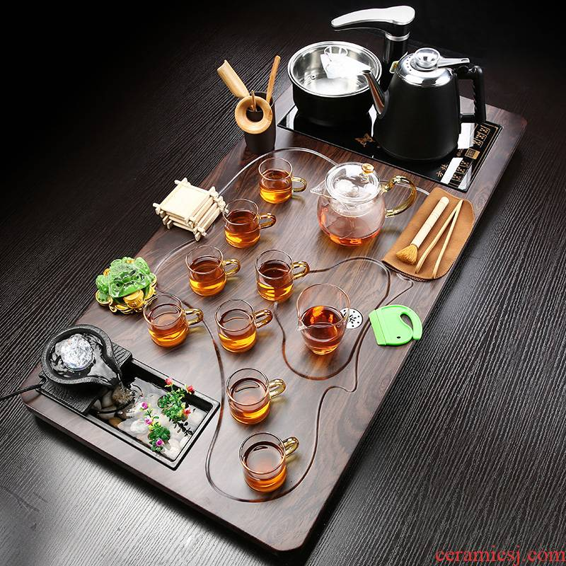 T home sitting room of a complete set of integrated automatic water solid wood tea tray was purple sand tea set kung fu tea cups
