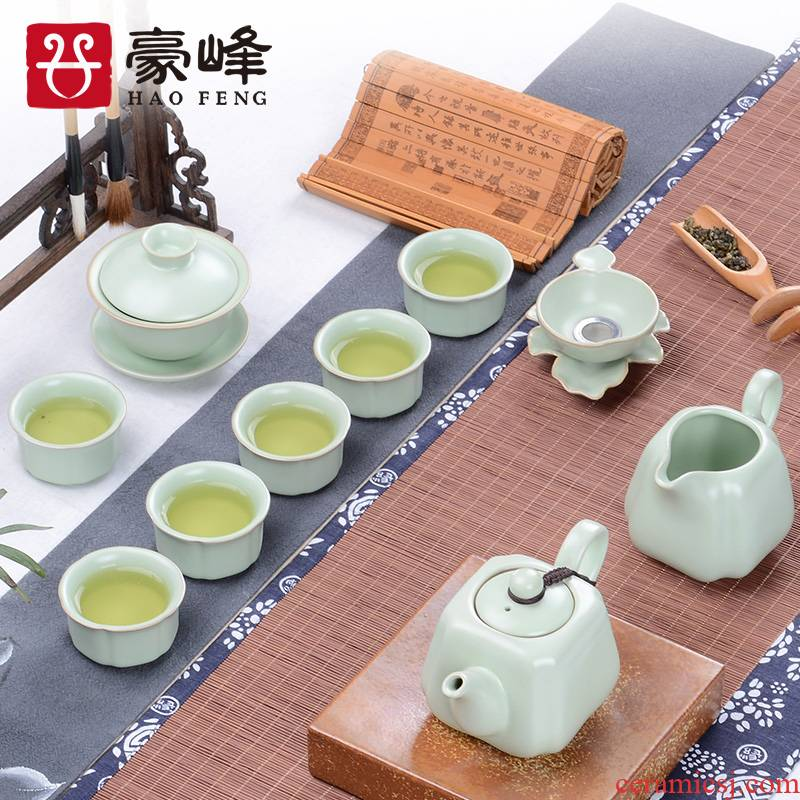 HaoFeng tea set brother suits for your up up kung fu tea tea can keep open piece of a complete set of ceramic tea set