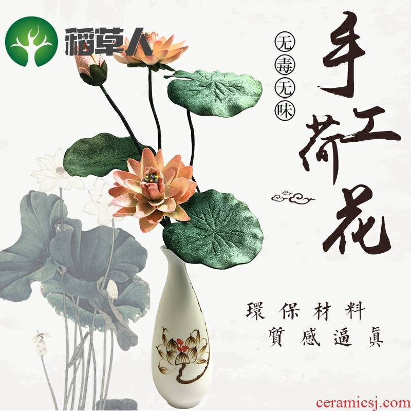 Simulation lotus Buddha zen flower arrangement before lotus temple worship Buddha artificial flowers flannelette silk flower vases household act the role ofing is tasted furnishing articles