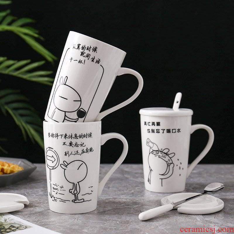 Wholesale water cups with cover of pottery and porcelain keller large capacity domestic lovely creative custom office coffee cup