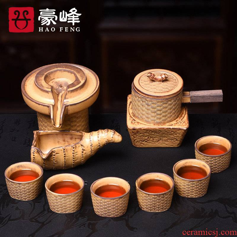 HaoFeng coarse pottery and porcelain of a complete set of kung fu tea set suit creative retro lazy hot cup teapot