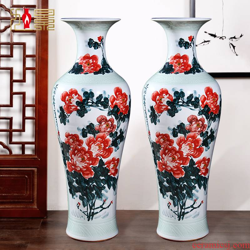 Jingdezhen ceramic hand - made ink stained the open prosperous vase household flower arranging Chinese sitting room porch place decoration