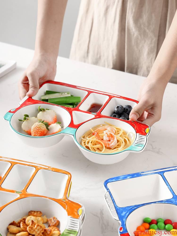 Ceramic tableware creative express cartoon car children baby plate frame breakfast tray was home snacks fruit bowl