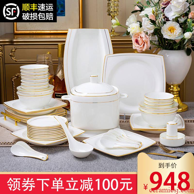The dishes suit household jingdezhen high - class European - style ipads porcelain tableware suit 60 head porcelain bowl chopsticks dishes combination