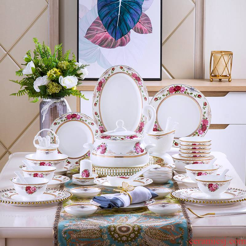 Dishes suit household jingdezhen European - style ipads porcelain tableware ceramics dinner set bowl chopsticks plate combination of Chinese style