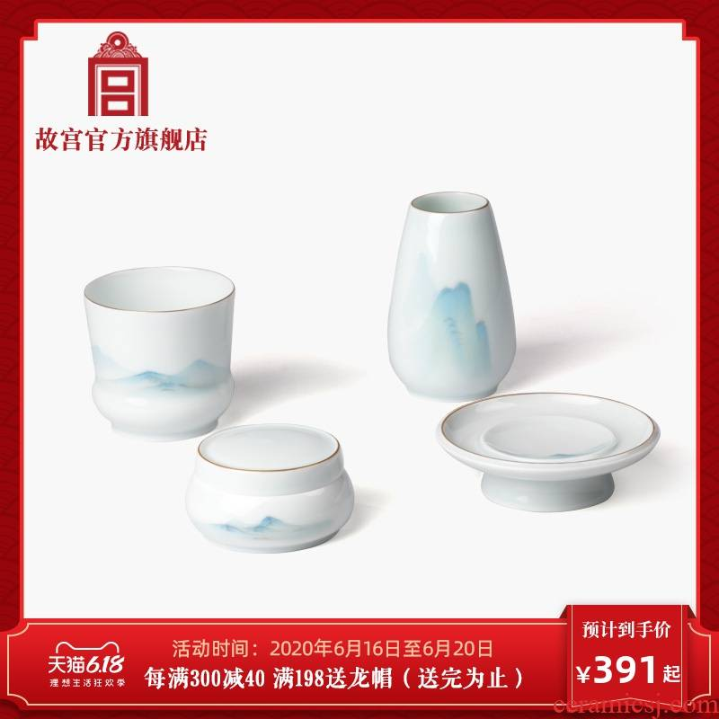 Palace li jiangshan hand - made head of the set sandalwood incense ceramic Palace official birthday gift to the Forbidden City