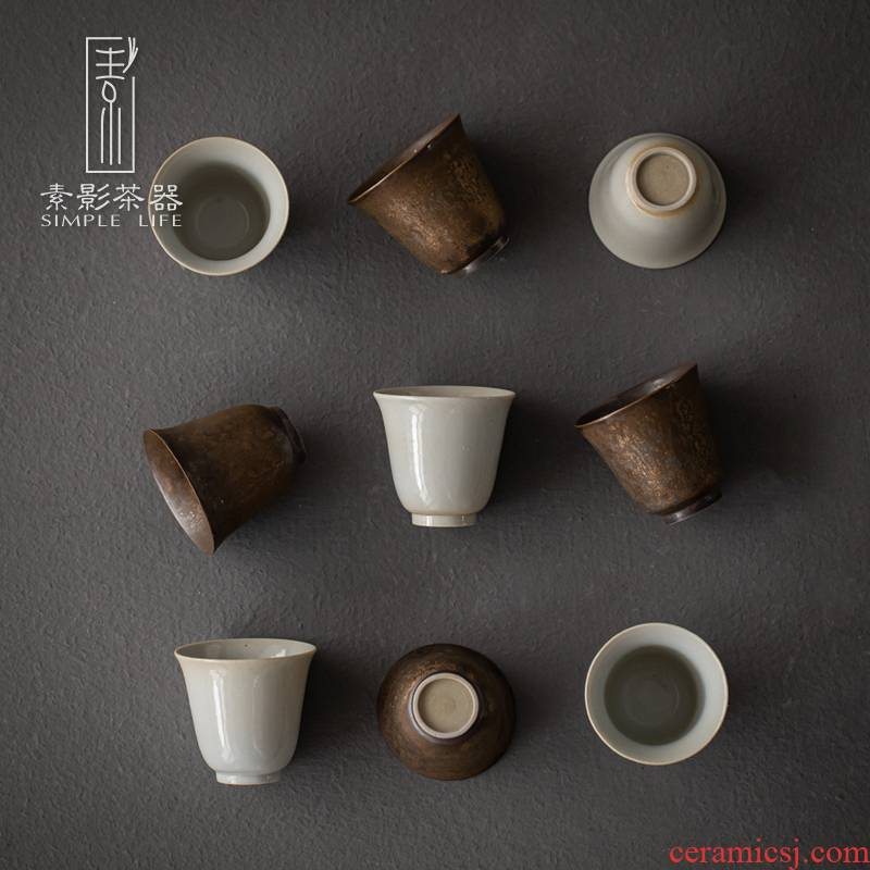 Plain film Japanese coarse pottery teacup masters cup single glass ceramic sample tea cup creative manual small gold cup bowl of restoring ancient ways