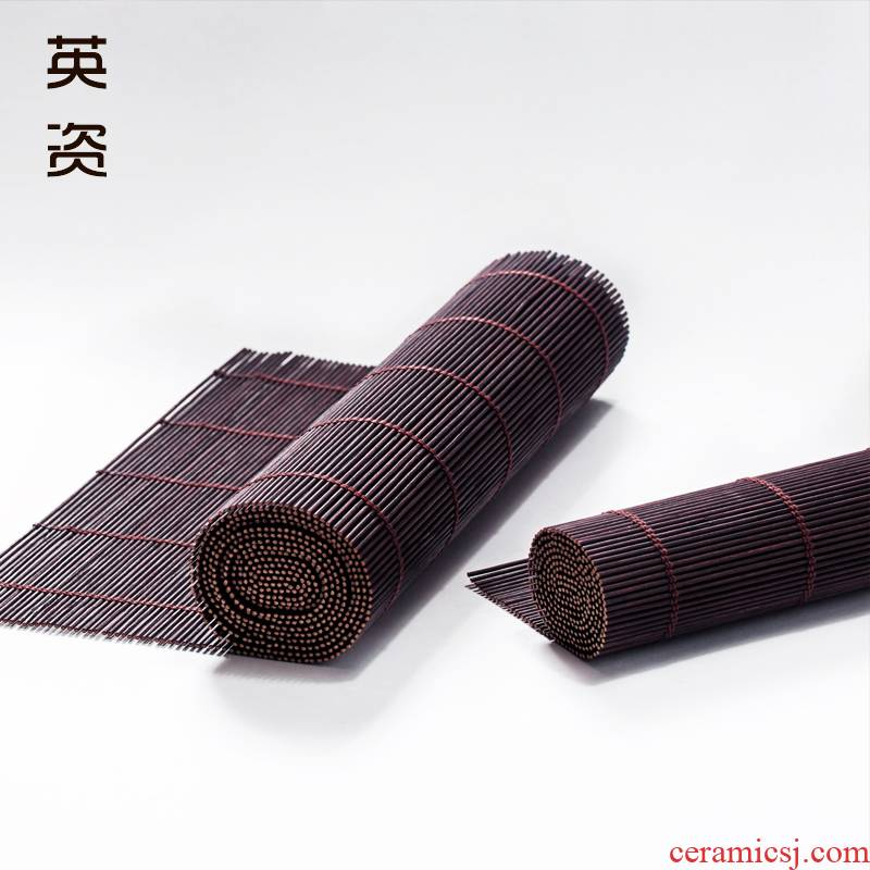 Tea bamboo mat bamboo curtain bamboo bamboo mat mat linen Tea towel Taiwan Tea table flag Tea cup mat Japanese zen