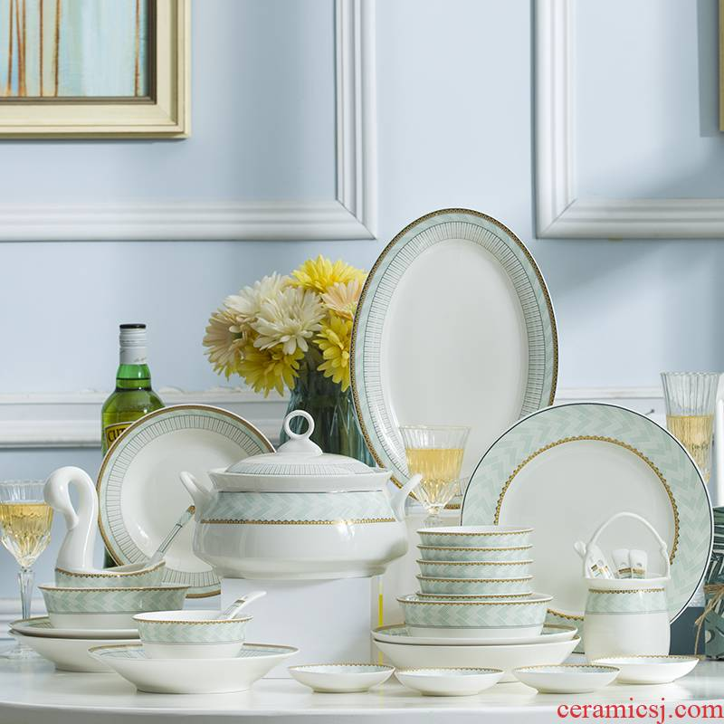 Dishes suit household European contracted portfolio jingdezhen ceramic tableware sets up phnom penh Dishes gifts