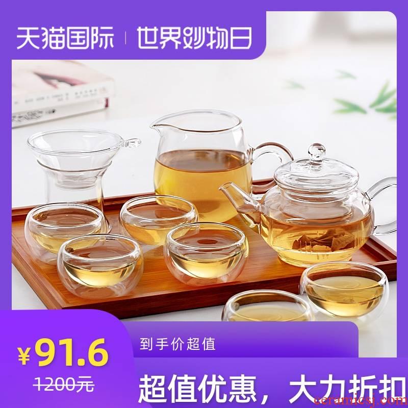 Heat resistant high temperature kung fu tea set glass teapot teapot filtering of a complete set of red tea tea cup