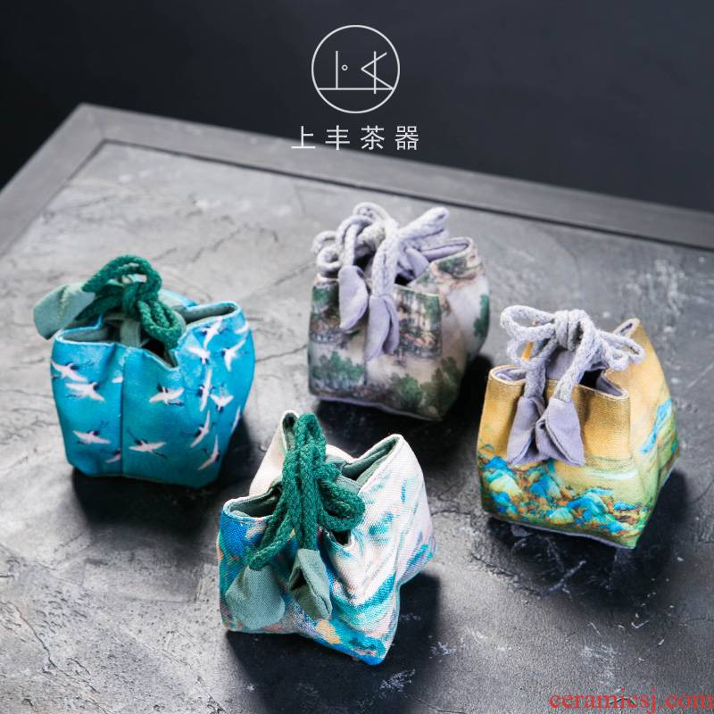 Feng retro cotton sample tea cup on small bag tea cups to receive bag bag in Japanese travel portable tea table accessories