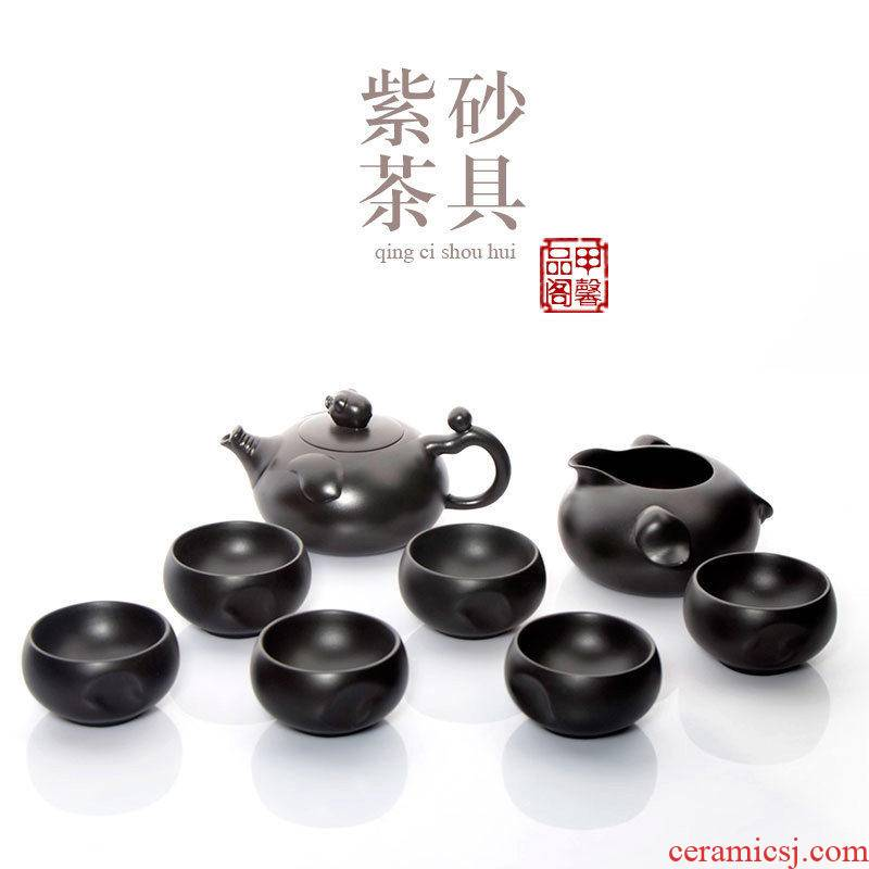 Creative JiaXin purple sand tea set a complete set of purple sand teapot teacup kung fu tea tea set