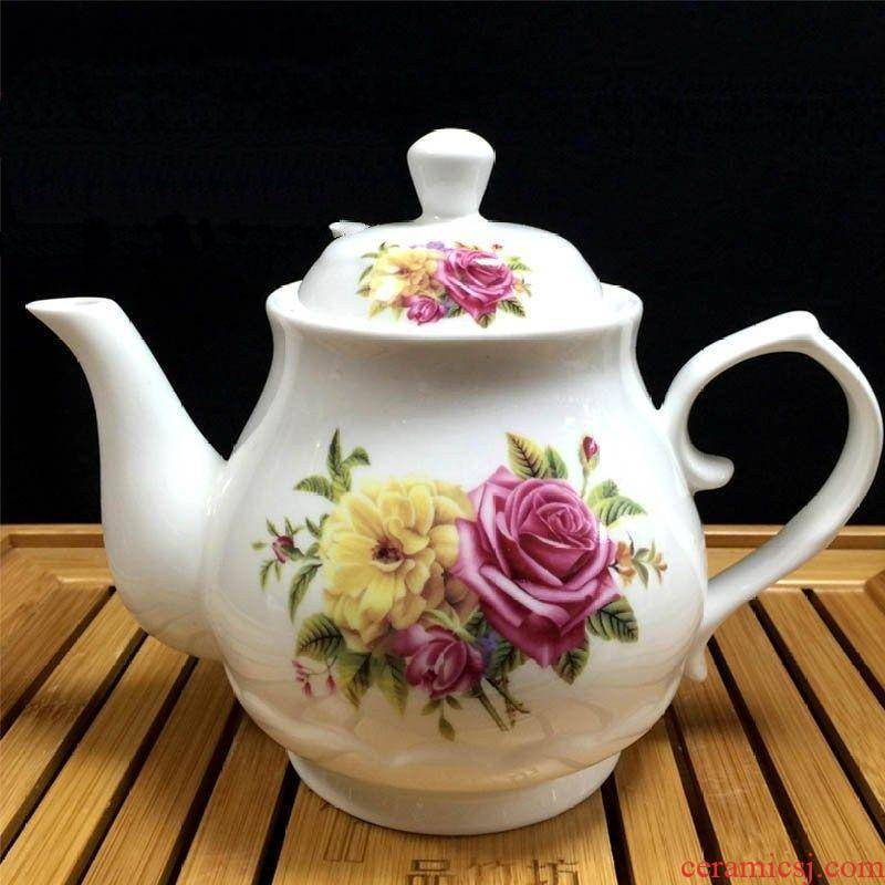 Hotel large capacity large single pot of white porcelain teapot Chinese ceramic round coffee tea set 10 flowers