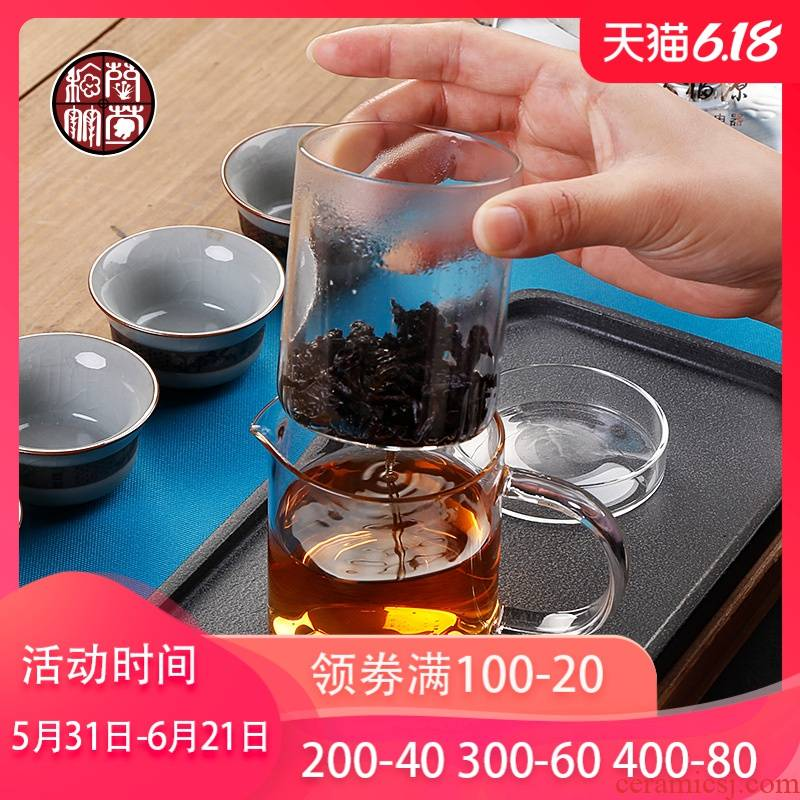 Glass tea POTS in bile filter tea to implement small household kung fu tea accessories black tea tea, a single