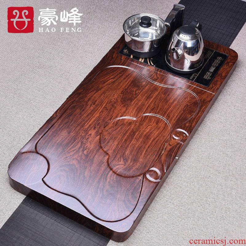 HaoFeng bamboo tea tray was sea tea sets tea tray tea saucer kung fu tea set four unity of electric heating furnace