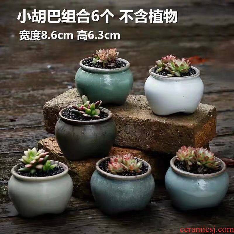 The Fleshy flower pot special offer a clearance coarse pottery breathable creative move meat meat small potted plant household contracted flower pot