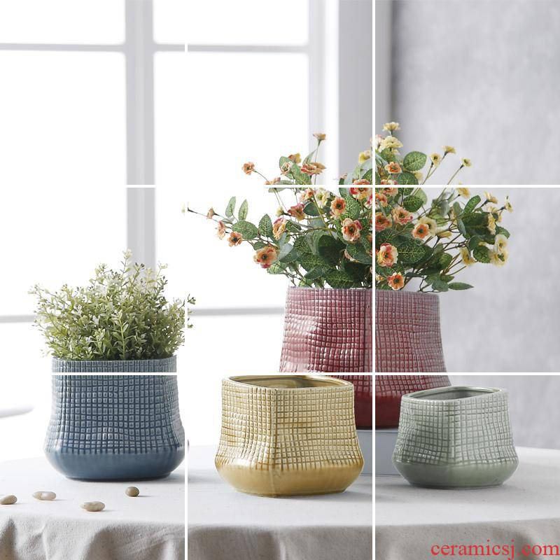Creative boreal Europe style ceramic flower pot with hole without tray was potted flower POTS with a hole, light large potted flower pot