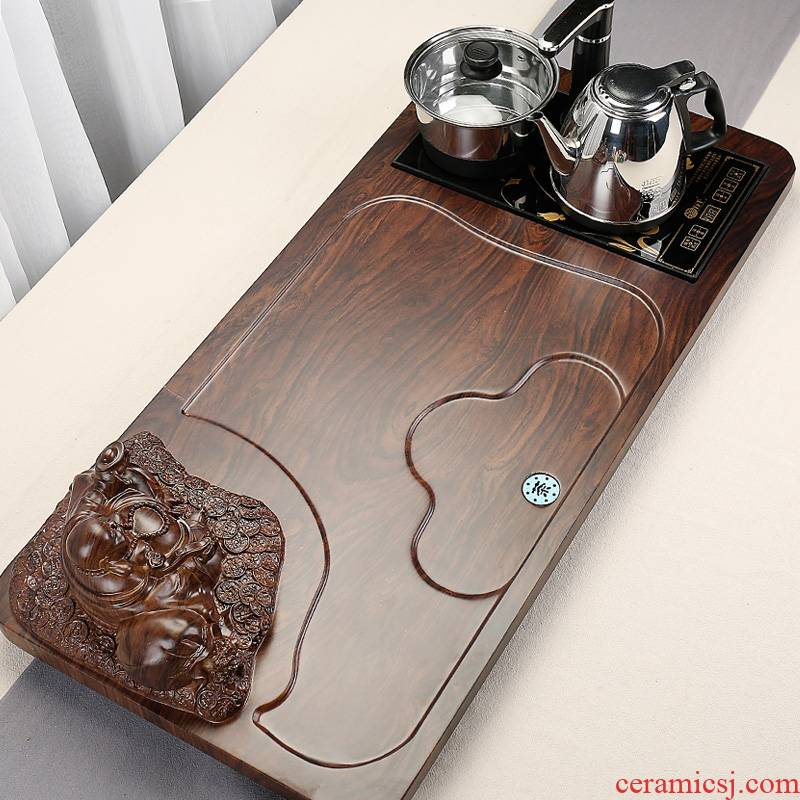Hai make sitting room home solid wood tea tray and four electric magnetic furnace kunfu tea sea suit contracted drainage of tea table