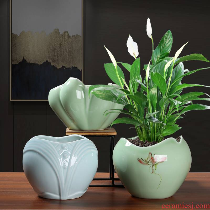 Ceramic celadon heavy large tray with individuality creative contracted more than other meat of bracketplant, green plant pot overflow