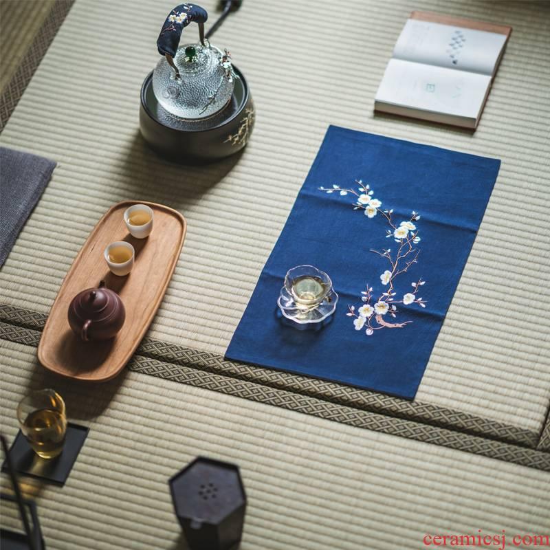 Vegetation school cotton embroidery name plum tea XiZhongGuo wind zen tea towel cloth art tea shops tea tea table flag space