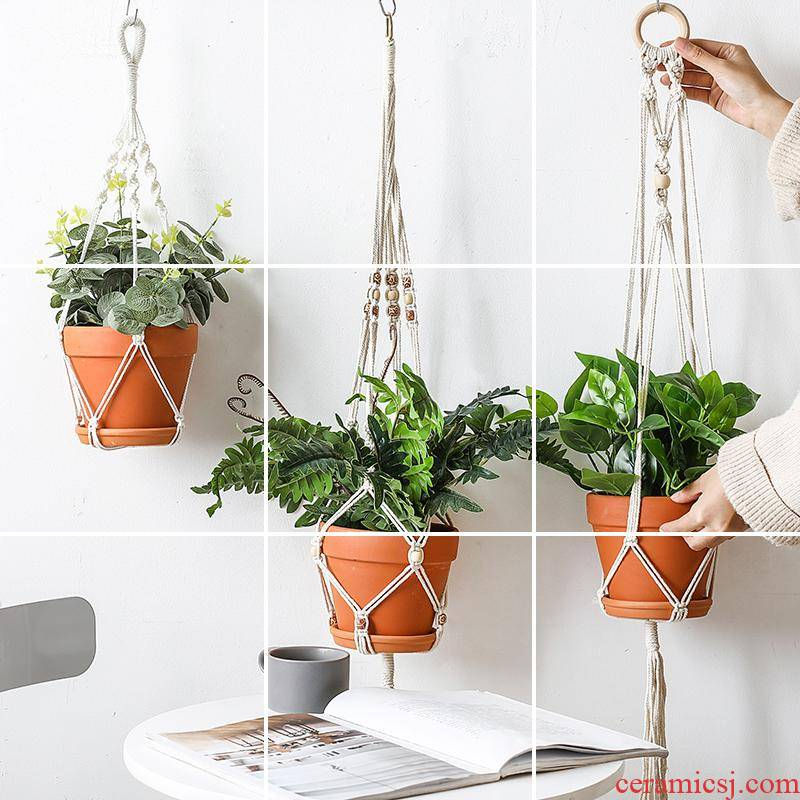 Nordic INS fleshy red ceramic pottery flowerpot cotton rope twine basin money plant bracketplant creative balcony hang hang wall