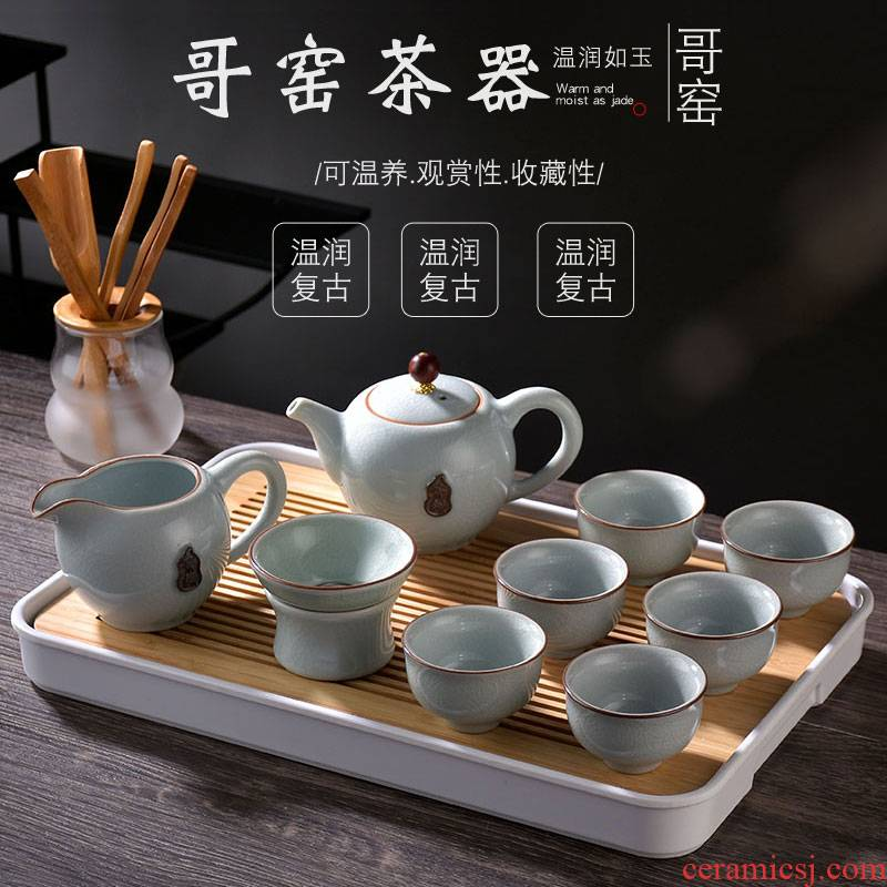 Morning tea set high elder brother up with crack household contracted to open the slice your up glaze Japanese kung fu of a complete set of ceramic tea cup