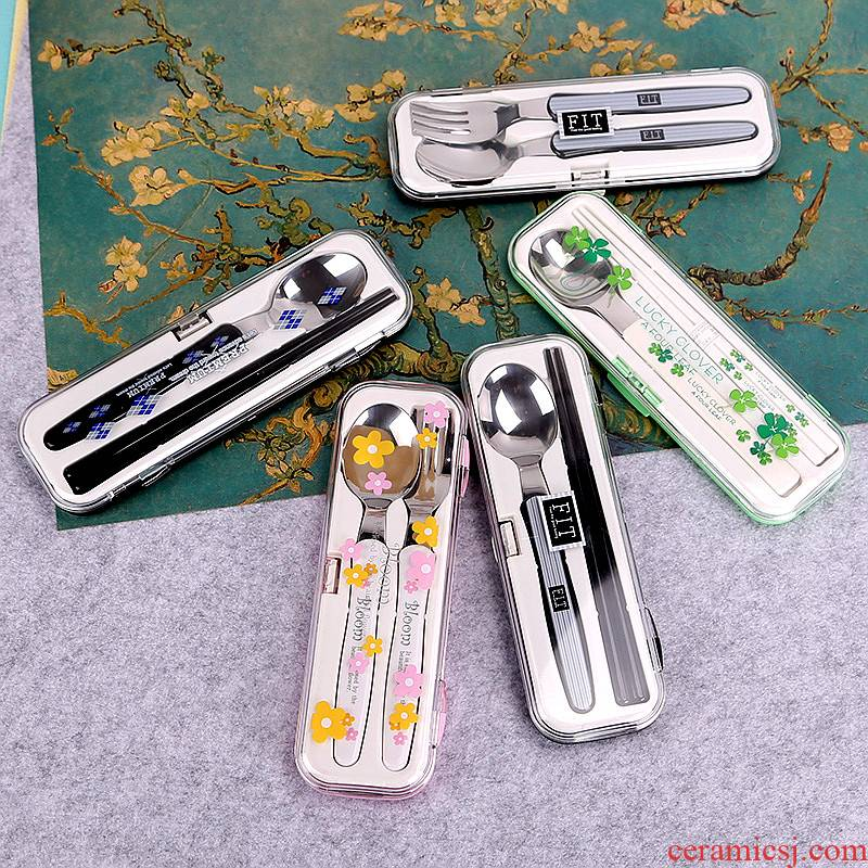 Imported from Japan travel portable tableware suit dustproof fork spoon, chopsticks students children adult household chopsticks box