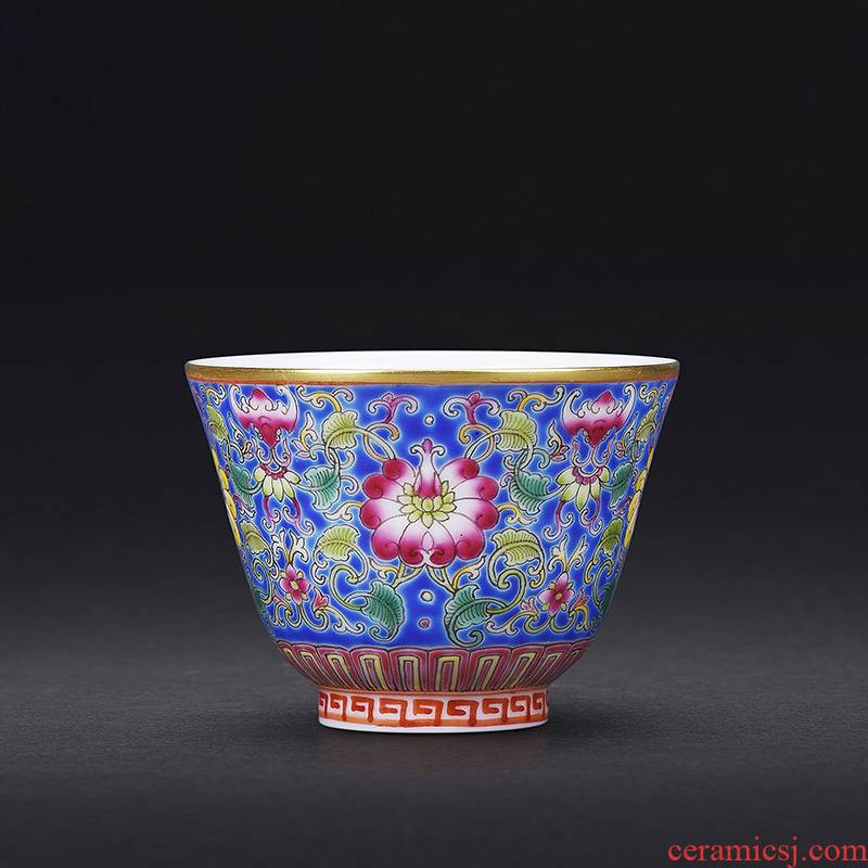 Hand colored enamel JingJun jingdezhen ceramics all Hand sample tea cup kung fu master tea cups